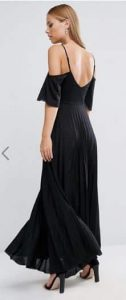 ASOS Cold Shoulder Pleated Maxi Dress with Lace Detail אסוס הנחה