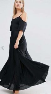 ASOS Cold Shoulder Pleated Maxi Dress with Lace Detail אסוס