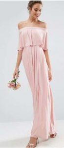 ASOS WEDDING Off Shoulder Frill Maxi Dress אסוס שמלה ורודה הנחה