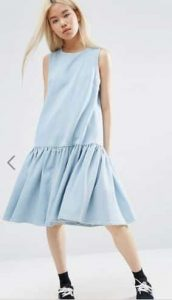 ASOS WHITE Denim Midi Dress With Drop Hem אסוס הנחה