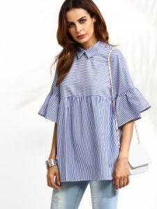 blue-striped-ruffle-sleeve-babydoll-blouse