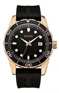Bulova Classic Sports Mens Quartz Watch with Black Dial Analogue Display and Black Silicone Strap 98B261