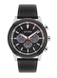 Citizen Watch Mens Solar Powered with Black Dial Analogue Display and Black Leather Strap CA4348 01E