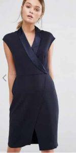Closet Tuxedo Midi Dress with Wrap Front אסוס הנחה