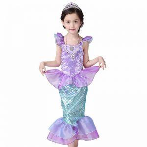 EVER FAIRY Children Baby Girl Clothes Little Mermaid Fancy Kids Girls Mermaid Dresses Princess Ariel Cosplay Halloween Costume