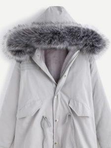 grey-faux-fur-trim-drawstring-fleece-inside-hooded-coat
