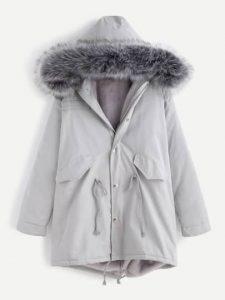 grey-faux-fur-trim-drawstring-fleece-inside-hooded-coat1