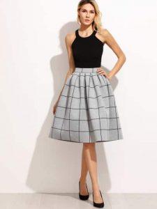 grey-grid-box-pleated-skirt