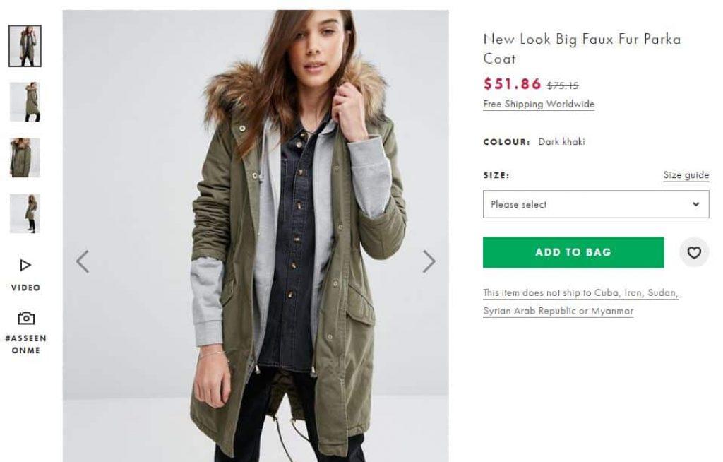 New Look Big Faux Fur Parka Coat