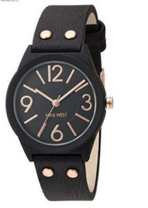 Nine West Womens Quartz Watch with Black Dial Analogue Display and