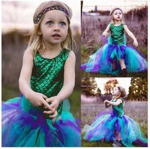 Party Kids Baby Girl Dress Mermaid Tops BodysuitTulle Tutu dress Outfits Set