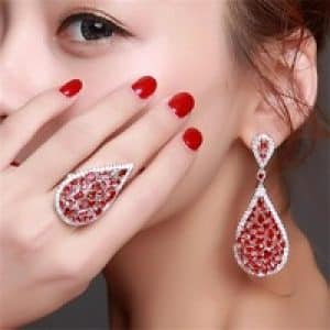 Water Drop Design Engagement Jewelry Sets Elegant Fashion Earrings Gold Plated Red CZ Woman Earrings and 1.jpg 200x200 1