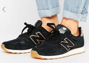 New Balance 373 Trainers In Black With Rose Gold Trim