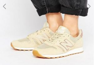 New Balance 373 Trainers In Sand With Rose Gold Trim