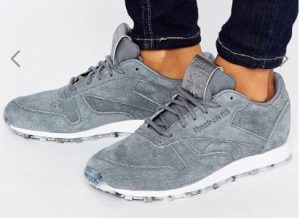 Reebok Classic Leather Trainers In Grey With Guilded Edge