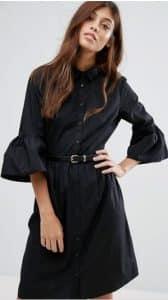 שמלת חולצה שחורה צנועה אסוס זול