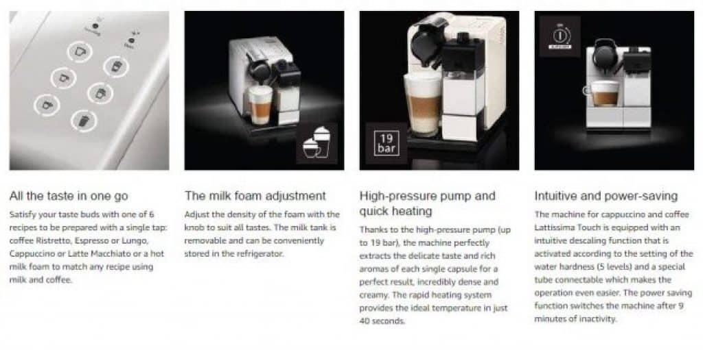 מכונת קפה כולל מקציץ חלב מובנה