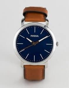 שעון יד לגבר פוסיל עור חום