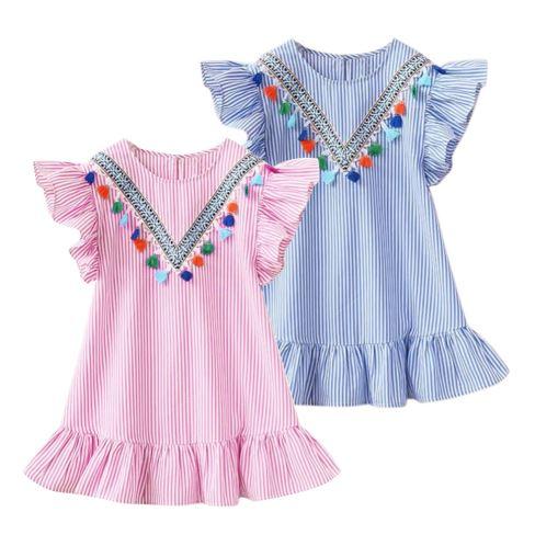 שמלת ילדות פסים כחול ורוד