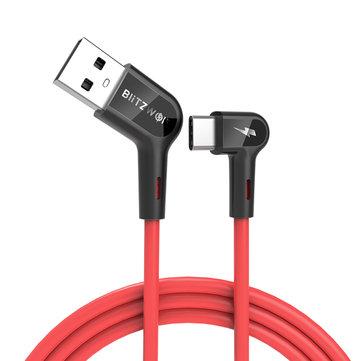 לכל הגיימרים שהכבל מפריע להם! כבל ארוך ואיכותי עם חיבור 90 מעלות Blitzwolf® BW-TC19 5A SuperCharge QC3.0 USB Type-C –