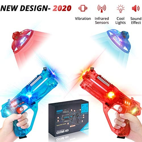 Infrared Laser Tag Robots Set of 2 Multicolor Gun Toy for Kids, Gun Tag Game for Boys and Girls. Children Toy with Wireless Flight