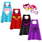 Cartoon Hero Role Play Costume Two Side Satin Cape and Felt Mask Party Favors for Kids