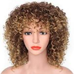 Curly Wigs Blonde Color New Fashion MIX Brown and Blonde Afro Kinky Curly Wigs for Women and Girls Cosplay Golden Blonde and Brown Wigs Very Natural Hair Wig Feel Same with Human Hair Extensions