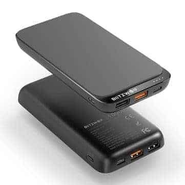 """סוללת גיבוי עם טעינה אלחוטית משולבת – BlitzWolf® BW-P10 10000mAh QC3.0 PD18W  – רק בכ78 ש""""ח!"""
