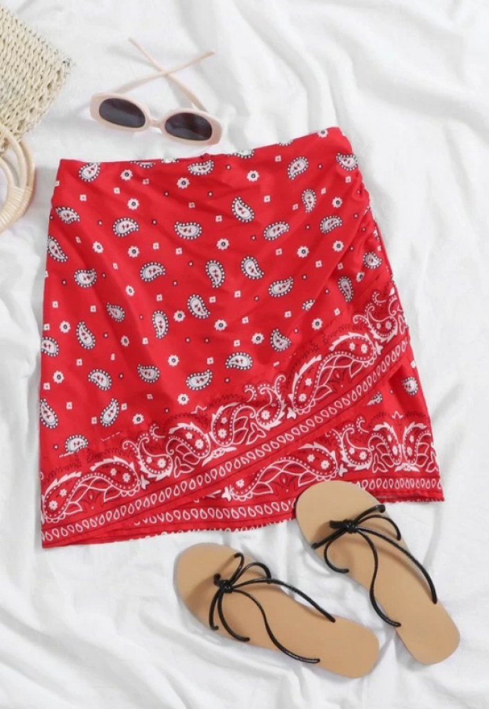 חצאית מיני הדפס פיזלי בנדנה