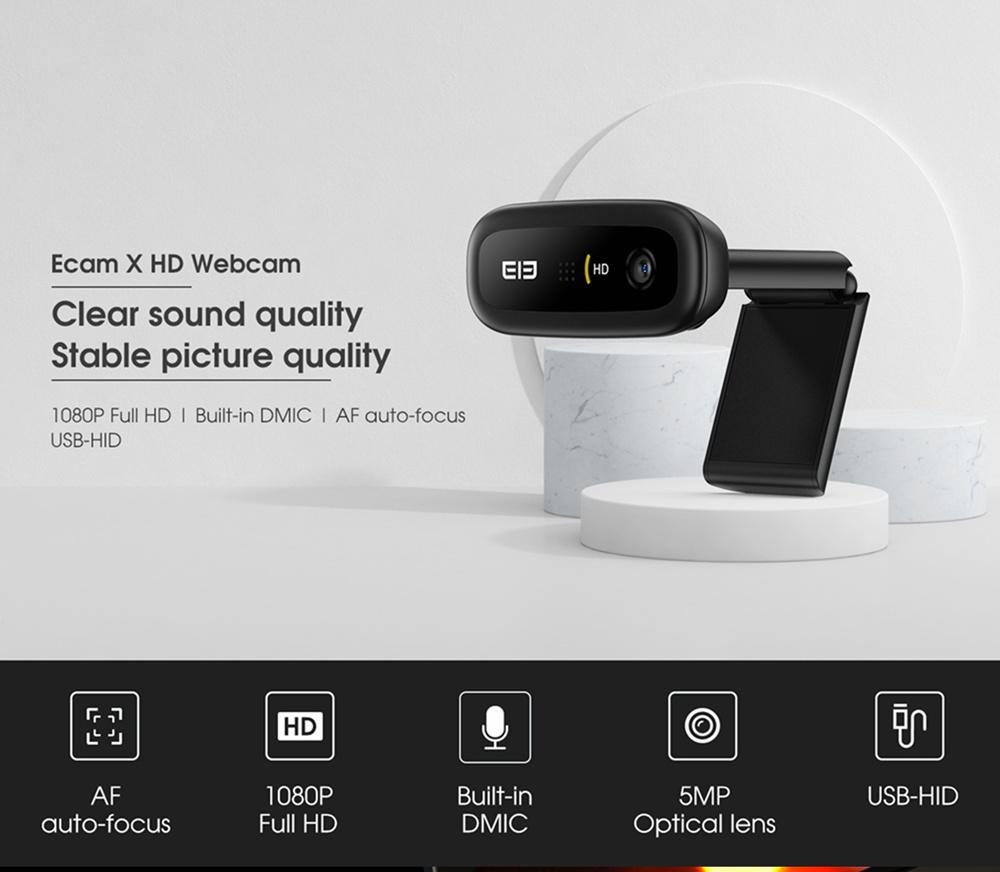 geekbuying Elephone Ecam X 1080P HD Webcam 5 0 MegaPixels Black 852892