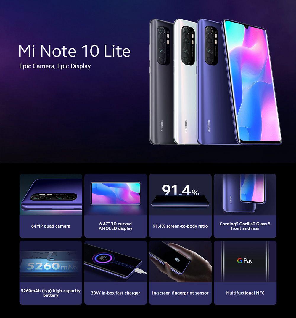 geekbuying Global Version Xiaomi Mi Note 10 Lite 6 47 6GB 128GB Purple 851520