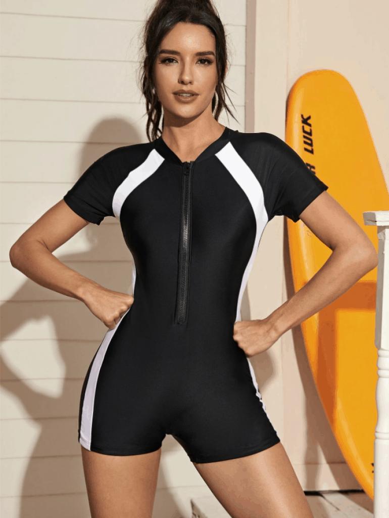בגד ים שלם חלק תחתון בגזרת מכנסונים צנוע ZUZU DEALS SHEIN