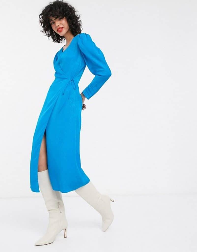 שמלה כחולה צנועה בזול ASOS