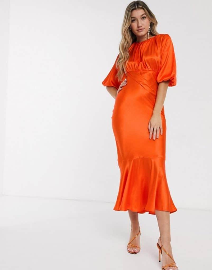 שמלה צנועה בצבע כתום לוהט ASOS