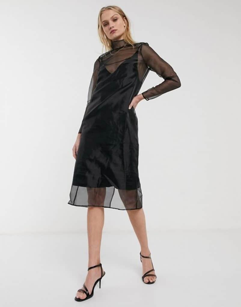 שמלת אורגנזה שקופה שחורה ASOS ZUZU DEALS