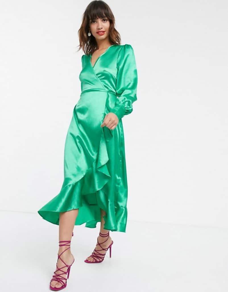 שמלת סאטן ירוק אזמרגד צנועה ASOS זוזו דילס
