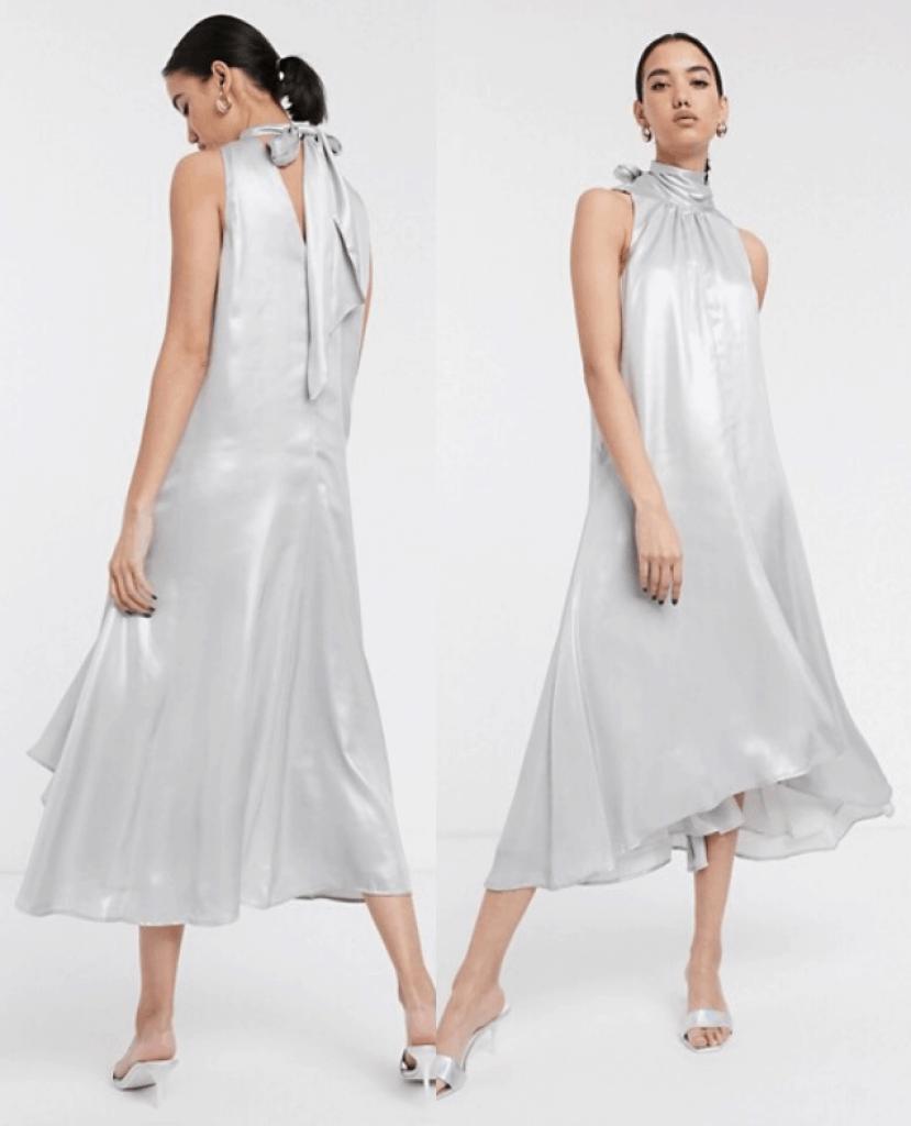 שמלת סאטן לבנה ASOS