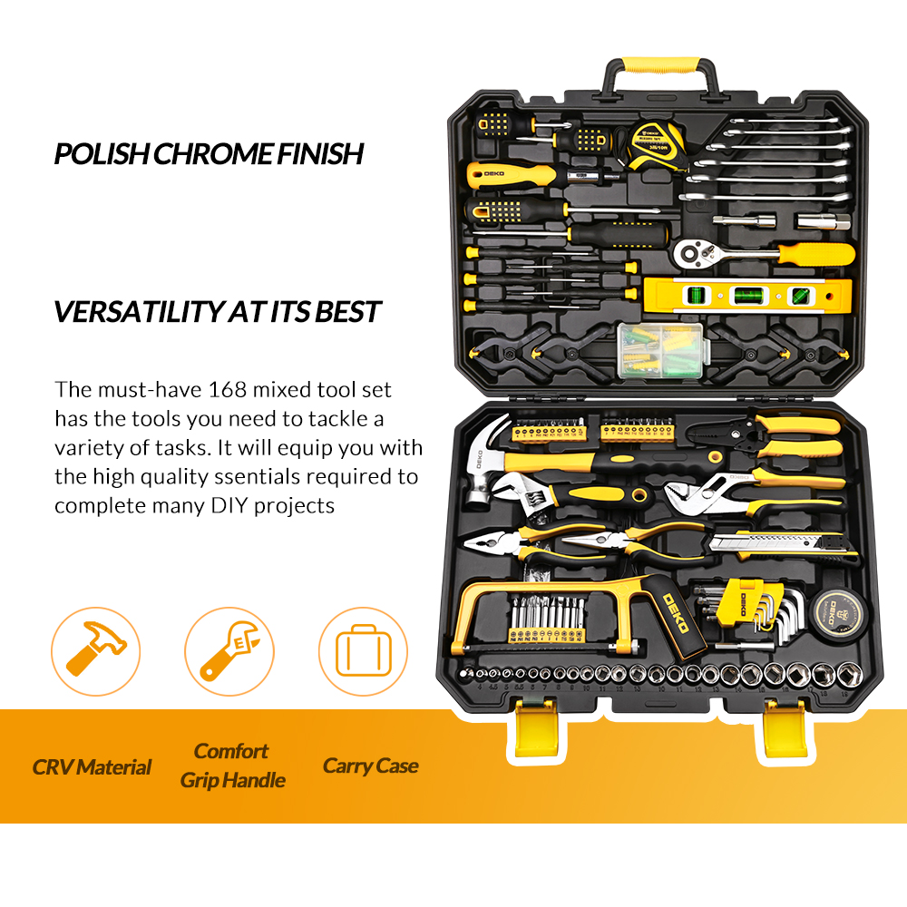 img 2 DEKO DKMT168 Socket Wrench Tool Set Auto Repair Mixed Tool Combination Package Hand Tool Kit with