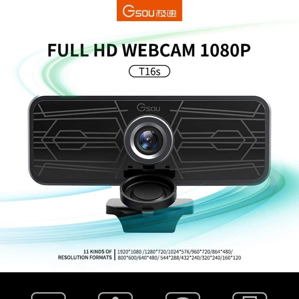 geekbuying Gsou T16s 1080P HD Webcam Built in Microphone Black 852674
