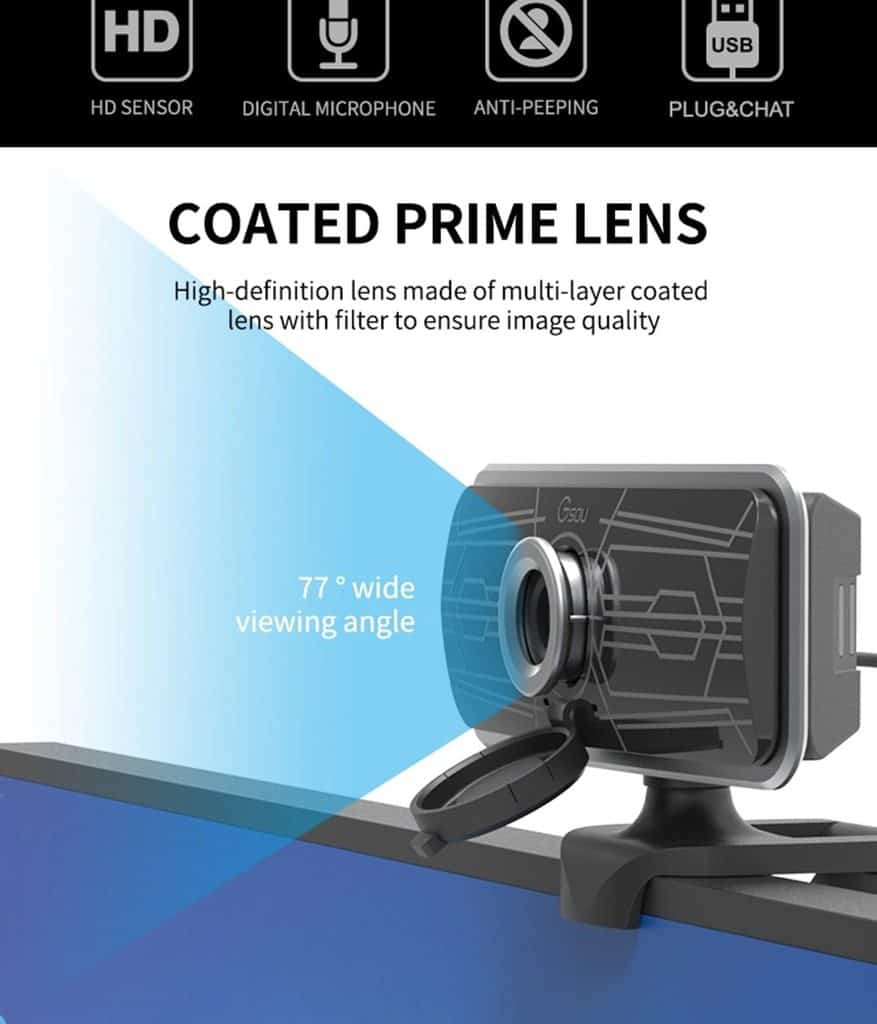 geekbuying Gsou T16s 1080P HD Webcam Built in Microphone Black 852675