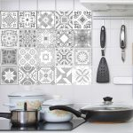US $0.98 24% OFF|Decorative Retro Moroccan Tiles PVC Tile Stickers,Grey color Wall Art Decal,Adhesive Waterproof Kitchen Backsplash Bathroom Deco|Wall Stickers|