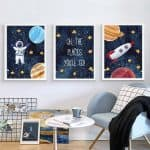 US $1.73 46% OFF|Astronaut Poster Space Rocket Baby Nursery Wall Art Canvas Poster Scandinavian Print Painting Kids Room Decorative Picture|Painting & Calligraphy|