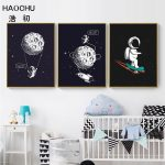 US $2.3 52% OFF|HAOCHU Space Scene Moon Decoration Picture Black Canvas Painting Rocket Wall Art Poster Boy Bedroom Living Room Home Decoration|Painting & Calligraphy|
