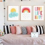 US $2.32 42% OFF|Cute Canvas Painting Weather Sun Rainbow Print Quote Poster Nursery Wall Art Children Bedroom Decorative Pictures Unisex Decor|Painting & Calligraphy|