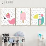 US $2.99 50% OFF|Scandinavian Style Poster Toucandots Flamingodots Cute Animal Wall Art Canvas Painting for Baby Room Kids Bedroom Children Decor|Painting & Calligraphy|