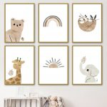US $3.01 47% OFF|Nordic Posters And Prints Bear Elephant Giraffe Sloth Sun Rainbow Wall Art Canvas Painting Cartoon Wall Pictures Kids Room Decor|Painting & Calligraphy|