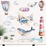 US $3.07 47% di SCONTO|Dipinto a mano Stile Hot Air Balloon Wall Stickers Sharks Aereo Decalcomanie Della Parete per la Camera Dei Bambini Scuola Materna Del Bambino Decorazione Complementi Arredo Casa|Adesivi murali|