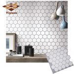 US $3.52 44% OFF|Hexagon Off White Vinyl Sticker Self Adhesive Wallpaper 3D Peel and Stick Square Wall Tiles for Kitchen and Bathroom Backsplash|Wall Stickers|