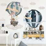 US $5.65 33% OFF|Hot air balloon Cartoon Wall Stickers for Living room Nursery Kids rooms Decor Vinyl Wall Decals for Baby room Home Decoration|Wall Stickers|