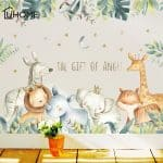 US $6.76 33% OFF|Cartoon Wall Stickers for Kids Rooms Giraffe Lion Fox Elephant Animal Home Decals Nursery Kindergarten Baby Room Home Decor|Wall Stickers|